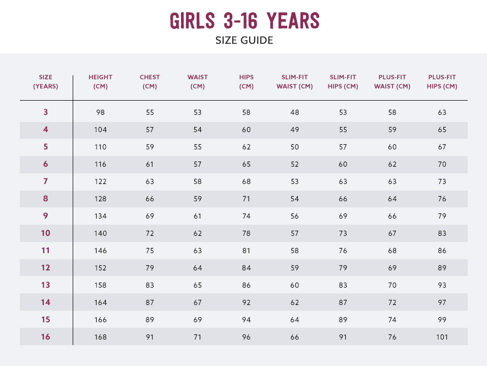 School Uniforms Size Chart Kids Schoolwear Size Guide Next