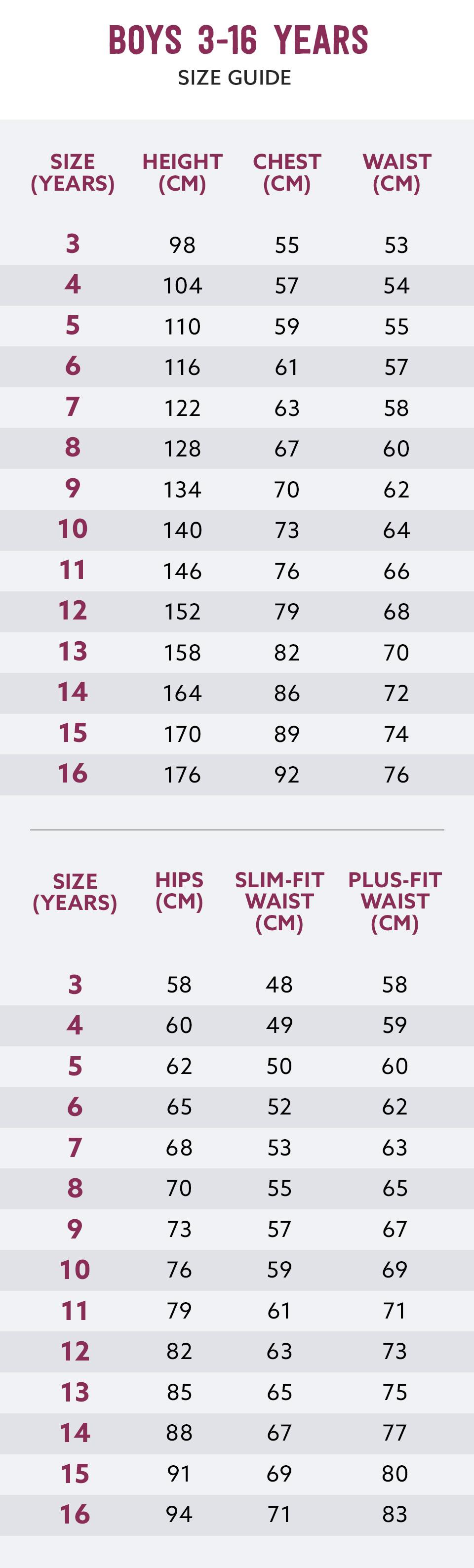 School Uniforms Size Chart | Kids Schoolwear Size Guide | Next