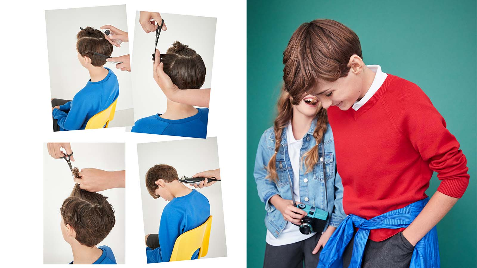 Boy getting hair cut wearing Next schoolwear
