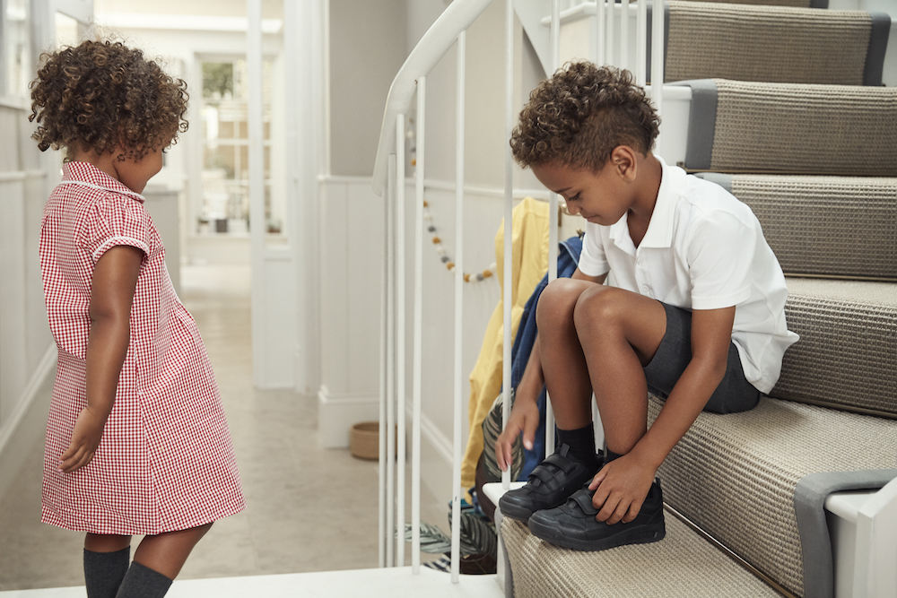 Mark lemon's children Thea and Otis getting ready for school