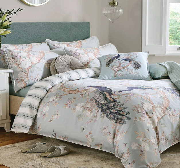 Belvedere Duck Egg Duvet Cover and Pillowcase Set