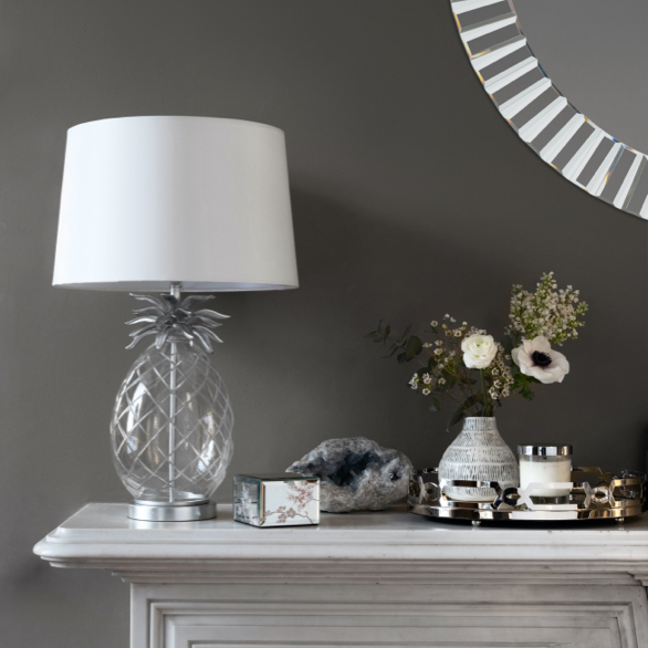 Pineapple Table Lamp with Ivory Shade