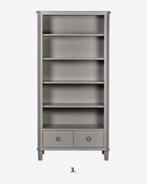 Henshaw Pale Charcoal 2 Drawer Single Bookcase